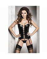 Bes corset fetish negro con liguero y tanga s/m