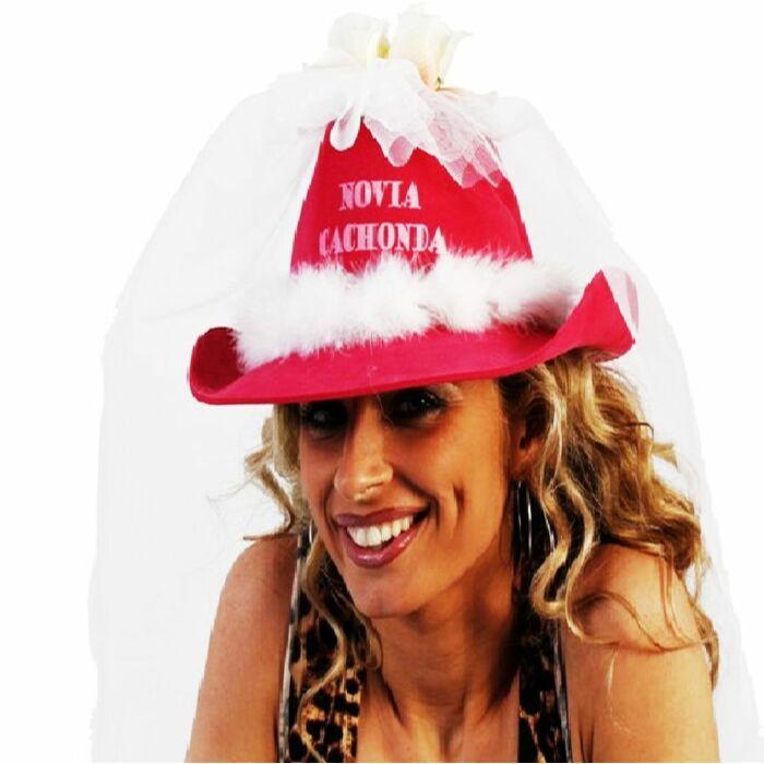 chapeau de petite amie Horny avec tulle blanc